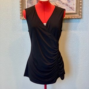 Style & Co sleeveless black faux wrap top in sz L